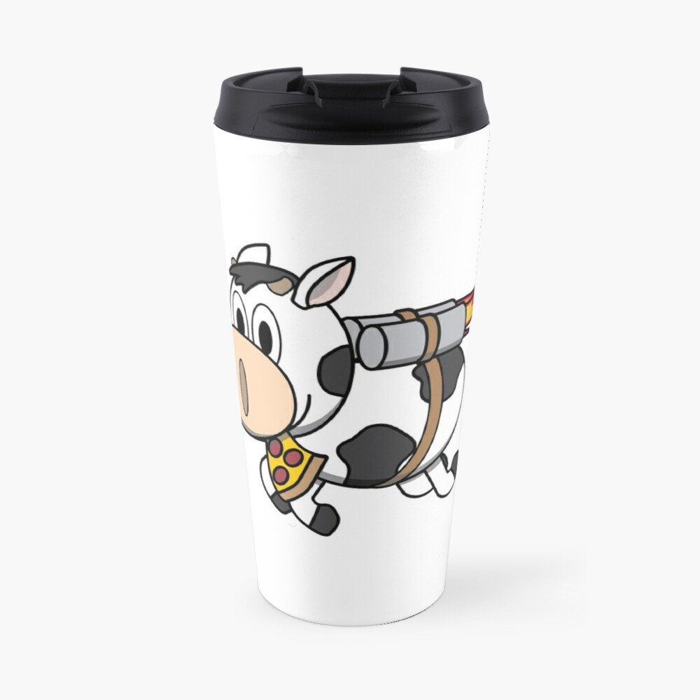 Cow Eating Pizza Wearing a Jetpack Travel Mug