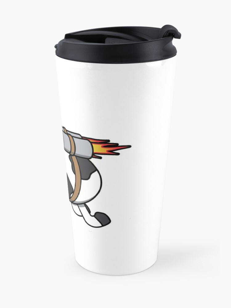 Alternate view of Cow Eating Pizza Wearing a Jetpack Travel Mug