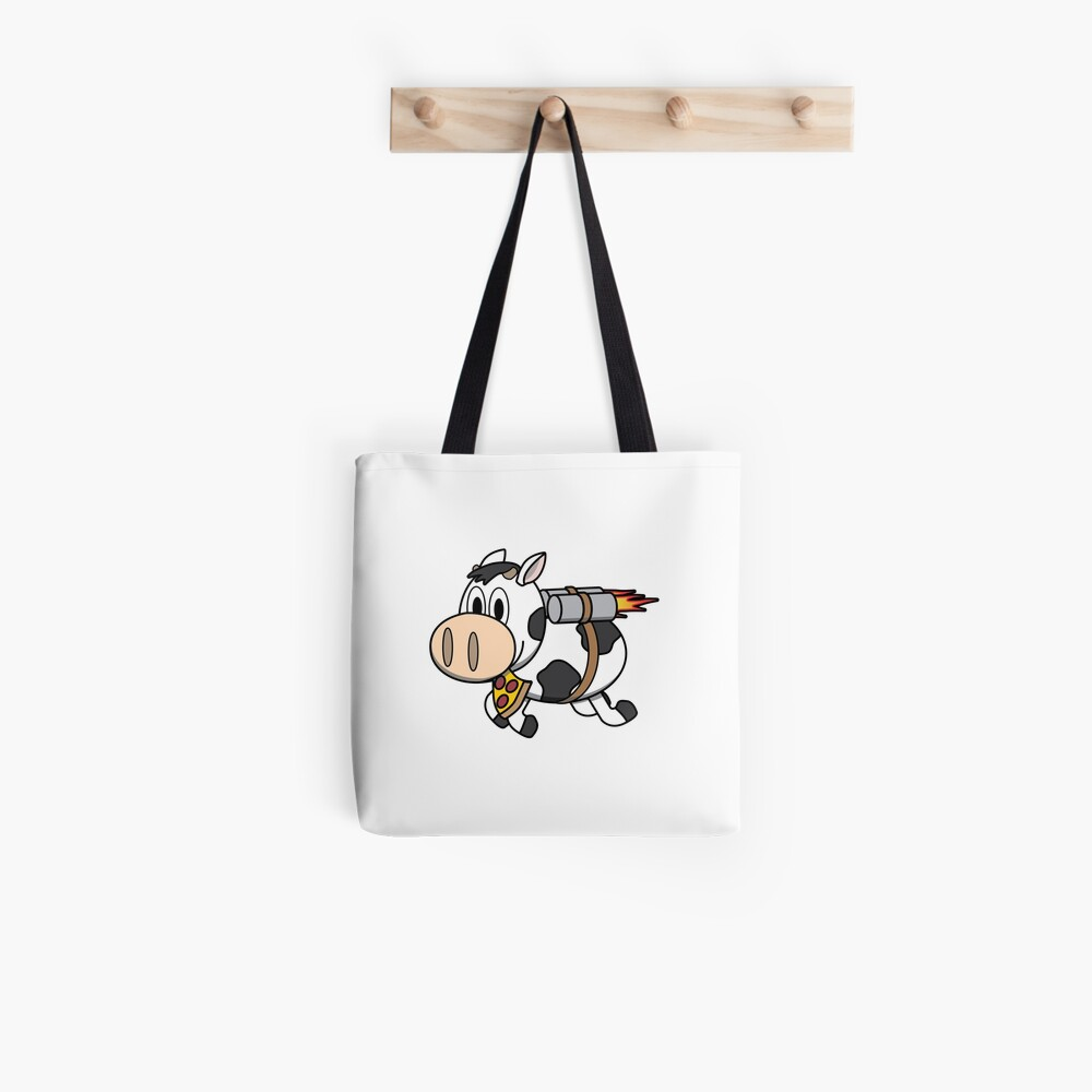 Cow Eating Pizza Wearing a Jetpack Tote Bag
