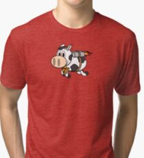 Cow Eating Pizza Wearing a Jetpack Tri-blend T-Shirt