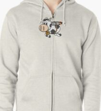 Cow Eating Pizza Wearing a Jetpack Zipped Hoodie