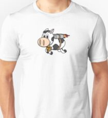 Cow Eating Pizza Wearing a Jetpack Slim Fit T-Shirt