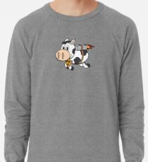 Cow Eating Pizza Wearing a Jetpack Lightweight Sweatshirt