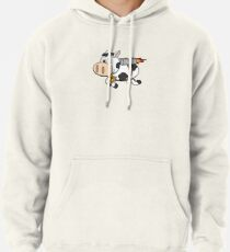 Cow Eating Pizza Wearing a Jetpack Pullover Hoodie