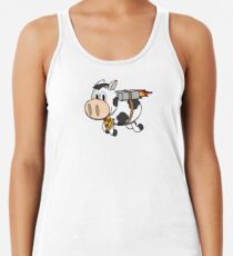 Cow Eating Pizza Wearing a Jetpack Racerback Tank Top