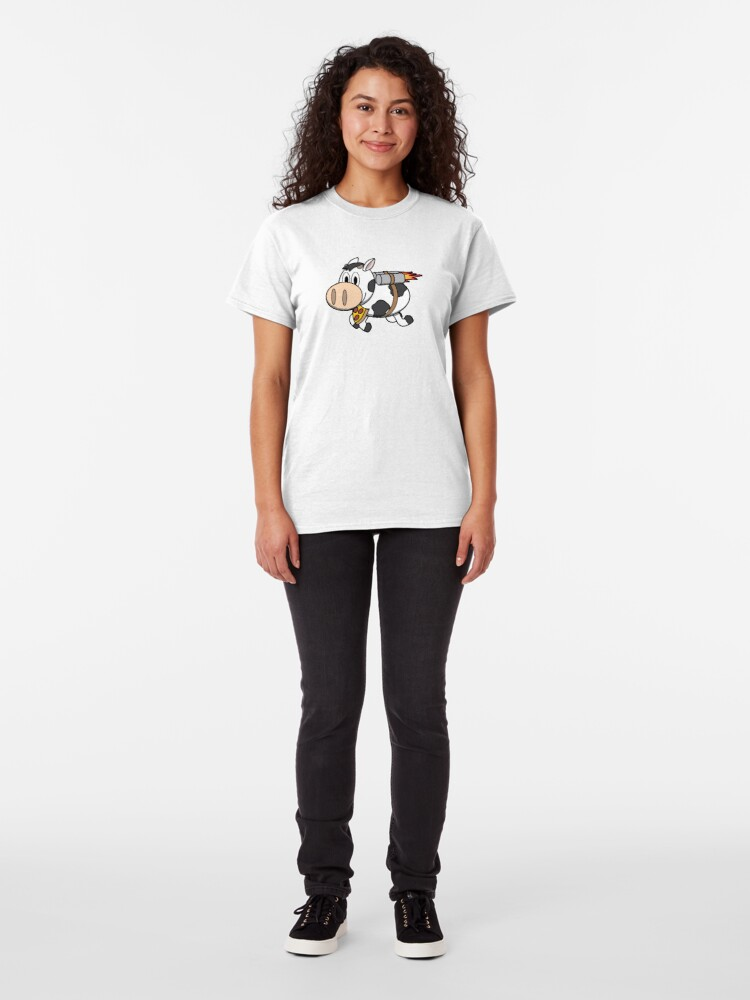 Alternate view of Cow Eating Pizza Wearing a Jetpack Classic T-Shirt