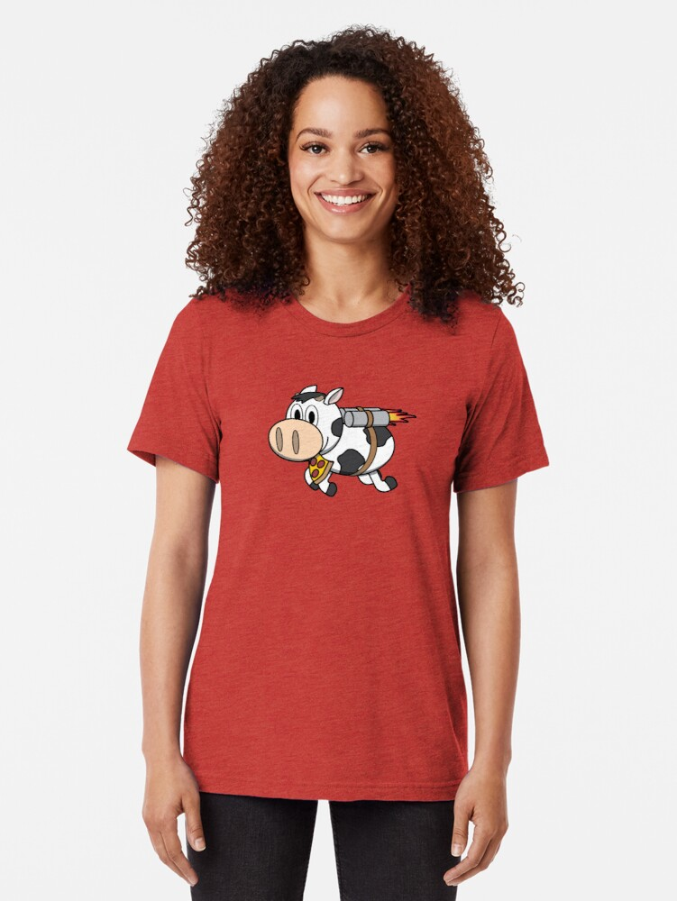 Alternate view of Cow Eating Pizza Wearing a Jetpack Tri-blend T-Shirt