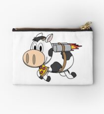Cow Eating Pizza Wearing a Jetpack Zipper Pouch