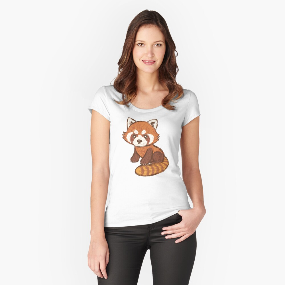 Red Panda Fitted Scoop T-Shirt