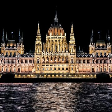 Hungarian Parliament at Night by solnoirstudios