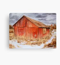 The Red Barn- Acrylic Painting Canvas Print