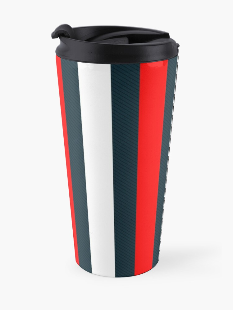 Alternate view of Red White Vertical Pattern Stripes Travel Mug
