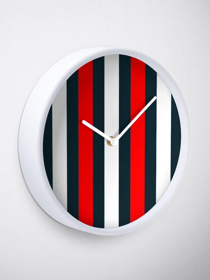 Alternate view of Red White Vertical Pattern Stripes Clock