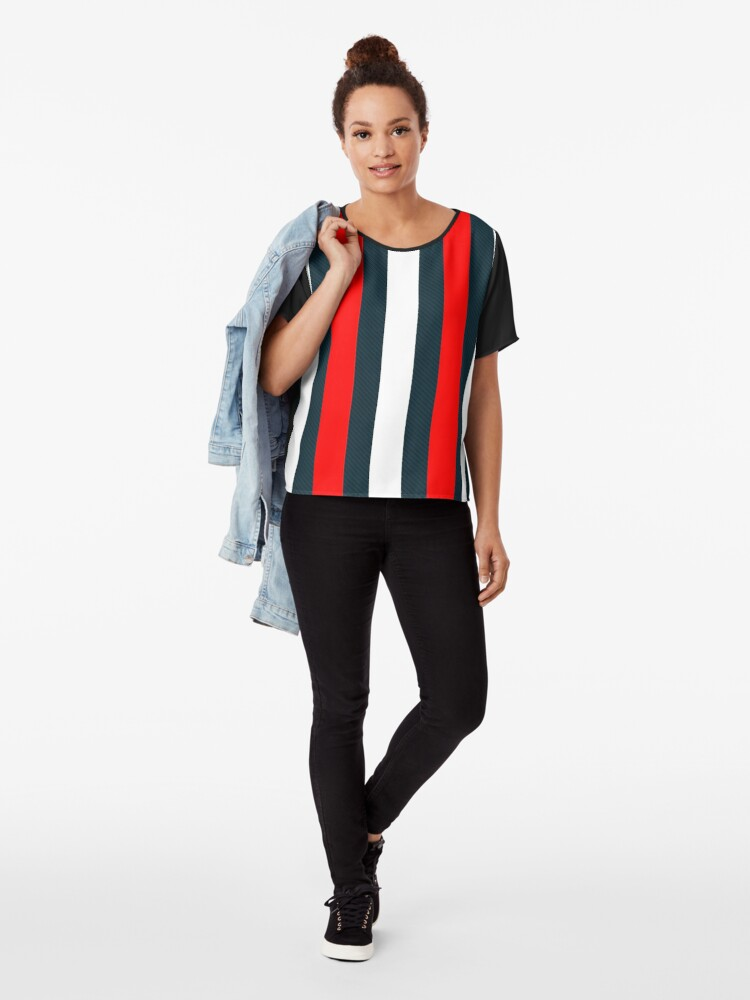 Alternate view of Red White Vertical Pattern Stripes Chiffon Top