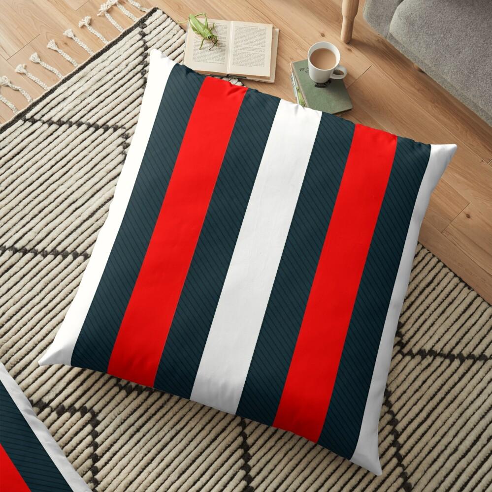 Red White Vertical Pattern Stripes Floor Pillow