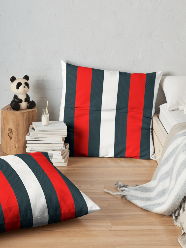 Alternate view of Red White Vertical Pattern Stripes Floor Pillow