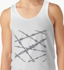 Realistic 3d detailed #barbed #wire line background Men's Tank Top