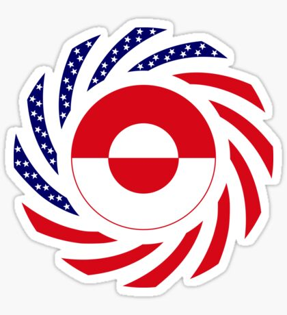 Greenlandic American Multinational Patriot Flag Sticker