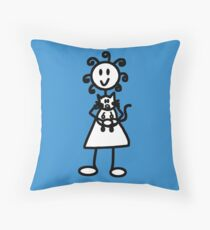 The Girl with the Curly Hair Holding Cat - Blue Throw Pillow