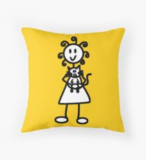 The Girl with the Curly Hair Holding Cat - Yellow Throw Pillow