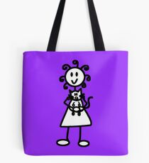 The Girl with the Curly Hair Holding Cat - Light Purple Tote Bag