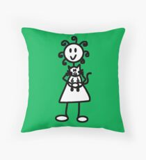 The Girl with the Curly Hair Holding Cat - Green Throw Pillow