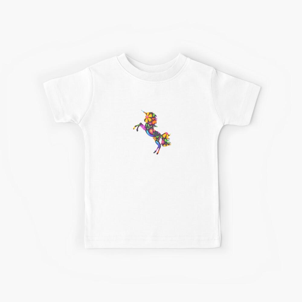 Einhorn Blumen Kinder T-Shirt