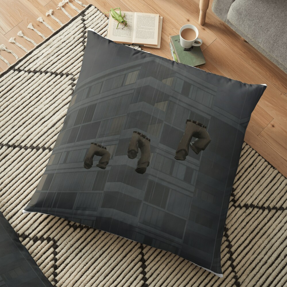 Flying trousers in the rain Floor Pillow