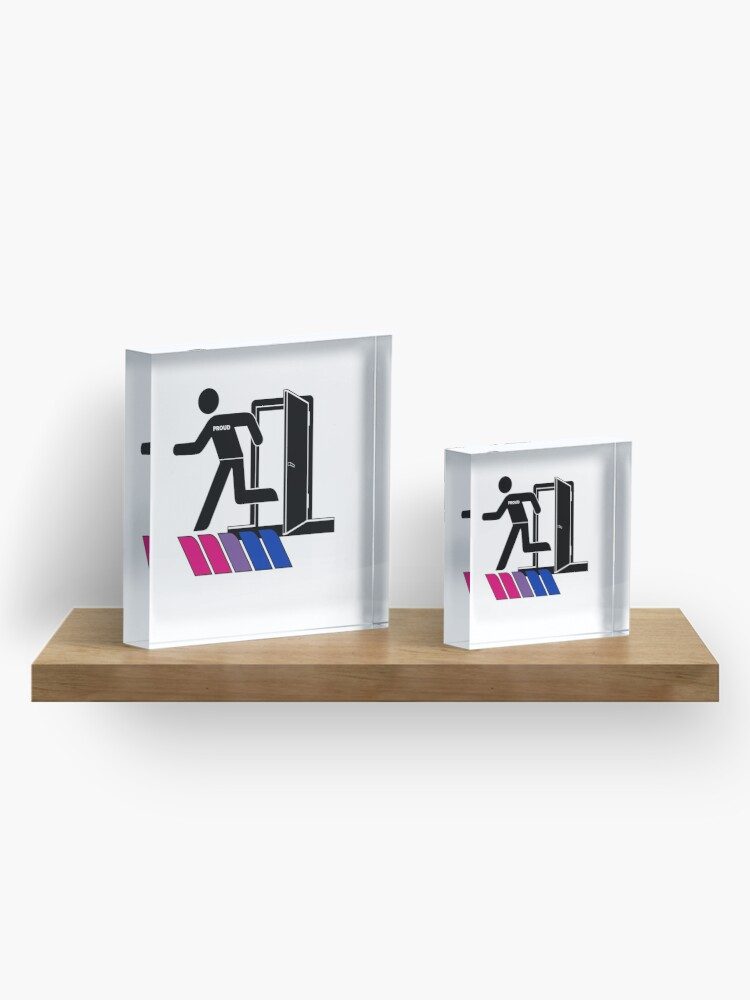Alternate view of Out and Proud Bi Bisexual Flag LGBT Pride Acrylic Block