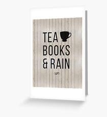 Tea Books & Rain Greeting Card