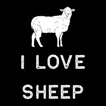 Farming Shirt I Love Sheep White Cute Gift Farm Country USA by threadsmonkey