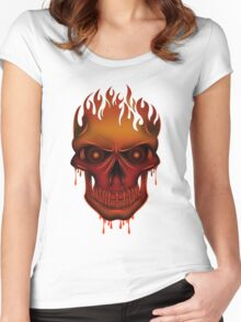 Flame Skull Women's Fitted Scoop T-Shirt