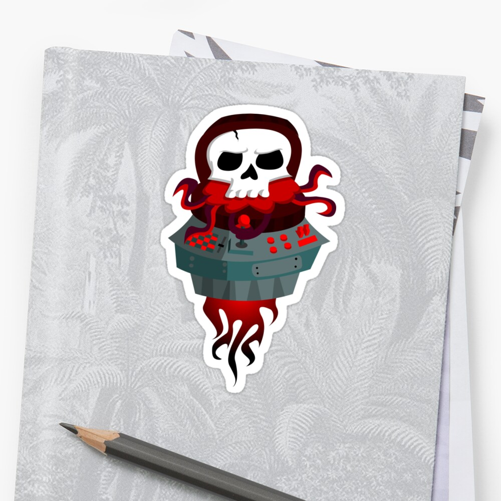 Rocket Skull Sticker Front