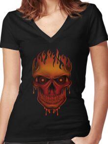 Flame Skull (2) Women's Fitted V-Neck T-Shirt