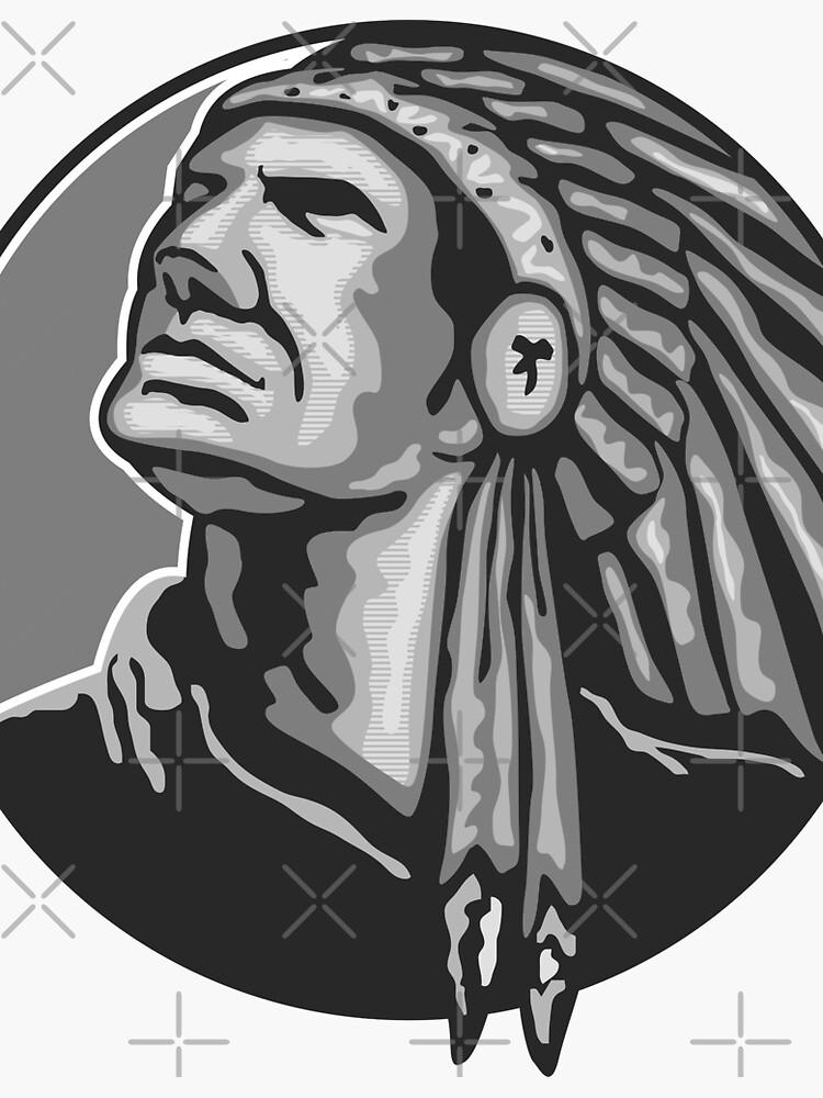 Native American Indian Chief Grayscale von patrimonio