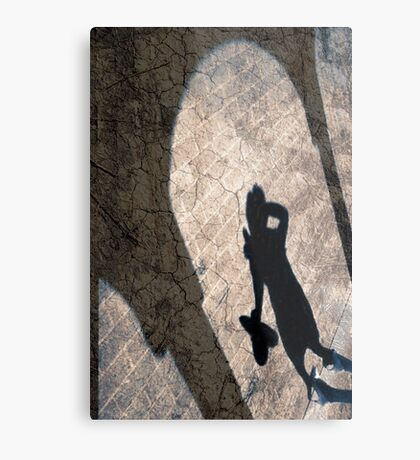 Shadow On The wall Textured Metal Print