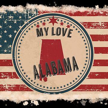 Alabama Vintage Retro US American Flag Design in Distress Look by Flaudermoon