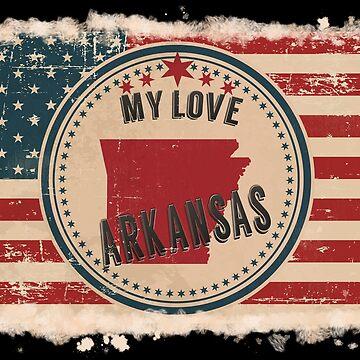 Arkansas Vintage Retro US American Flag Design in Distress Look by Flaudermoon