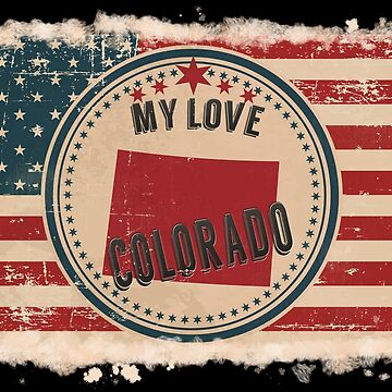Colorado Vintage Retro US American Flag Design in Distress Look by Flaudermoon