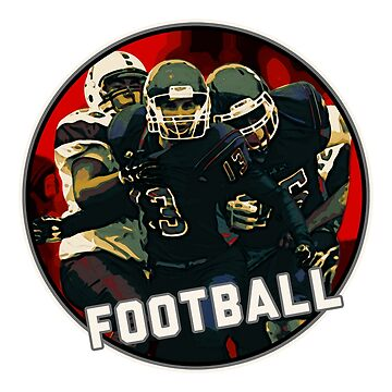 Cool Football Season Red Art Graphic Youth Helmet & Jersey on White on Black by GabiBlaze