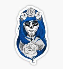 Pelo azul de Santa Muerte Pegatina