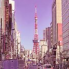 Tokyo Tower Seen from Gaien-Higashi-Dori - Pink Painting by DLKR