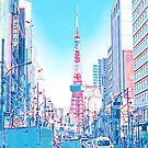 Tokyo Tower Seen from Gaien-Higashi-Dori - Light Colored Painting by DLKR