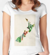New Zealand Typographic Watercolor Map Women's Fitted Scoop T-Shirt
