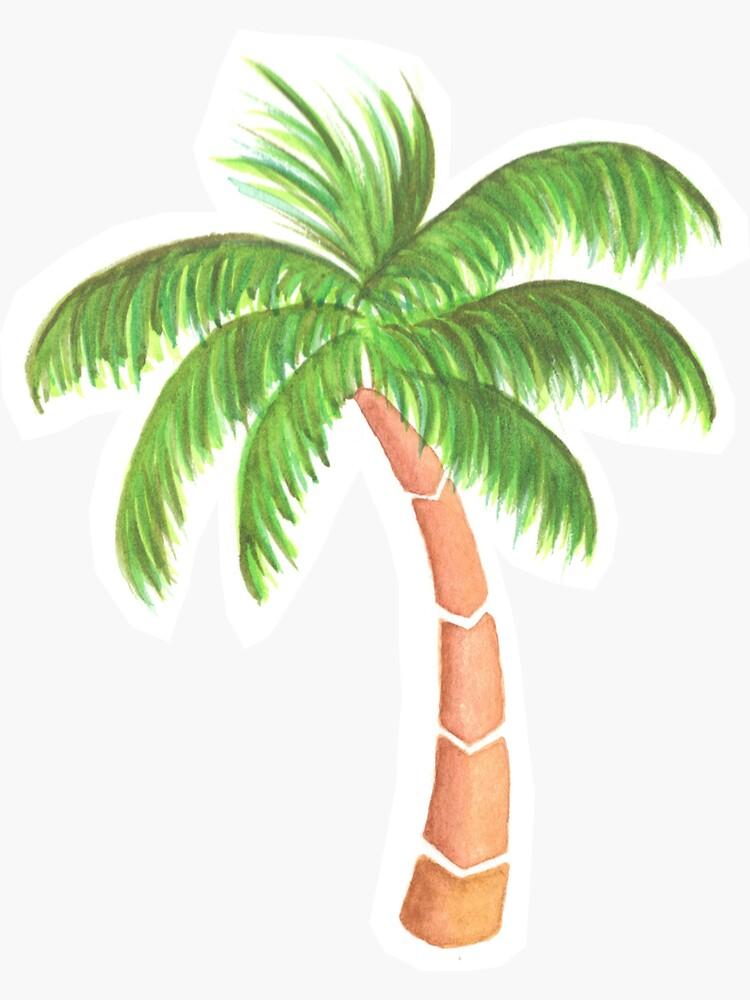 Palmera tropical - Acuarela de chargingrhinos