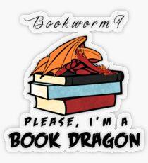 Pegatina transparente ¿Ratón de biblioteca? Por favor, soy un dragón de libros.