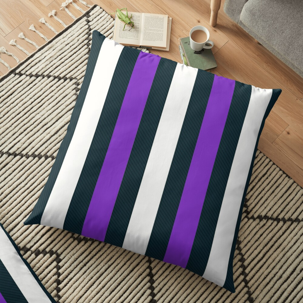 Purple White Vertical Pattern Stripes Floor Pillow