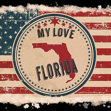 Florida Vintage Retro US American Flag Design in Distress Look by Flaudermoon