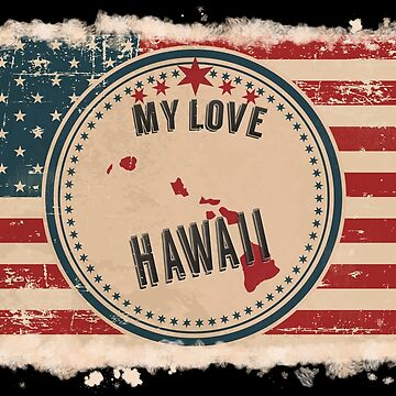 Hawaii Vintage Retro US American Flag Design in Distress Look by Flaudermoon