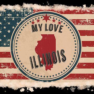Illinois Vintage Retro US American Flag Design in Distress Look by Flaudermoon